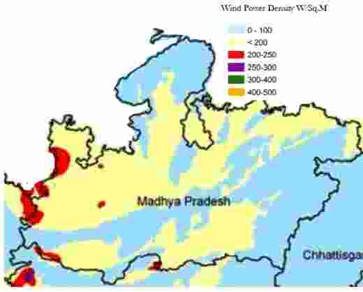 Madhya Pradesh Wind Energy Resource Map, identifying wind speed for wind power generation