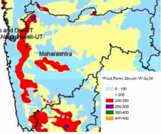 Maharashtra Wind Energy Resource Map, identifying wind speed for wind power generation