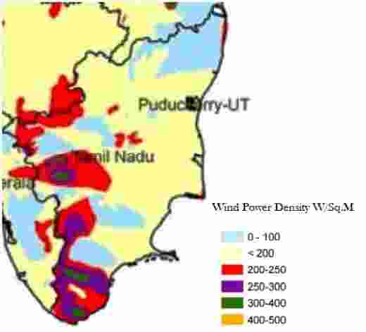 Tamil Nadu Wind Energy Resource Map, identifying wind speed for wind power generation