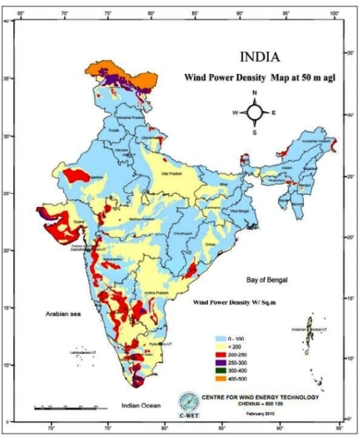 India Wind Energy Resource Map, identifying wind speed for wind power generation